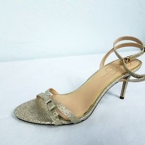 Jessica Simpson Gold Sparkle Women's Heels Shoes